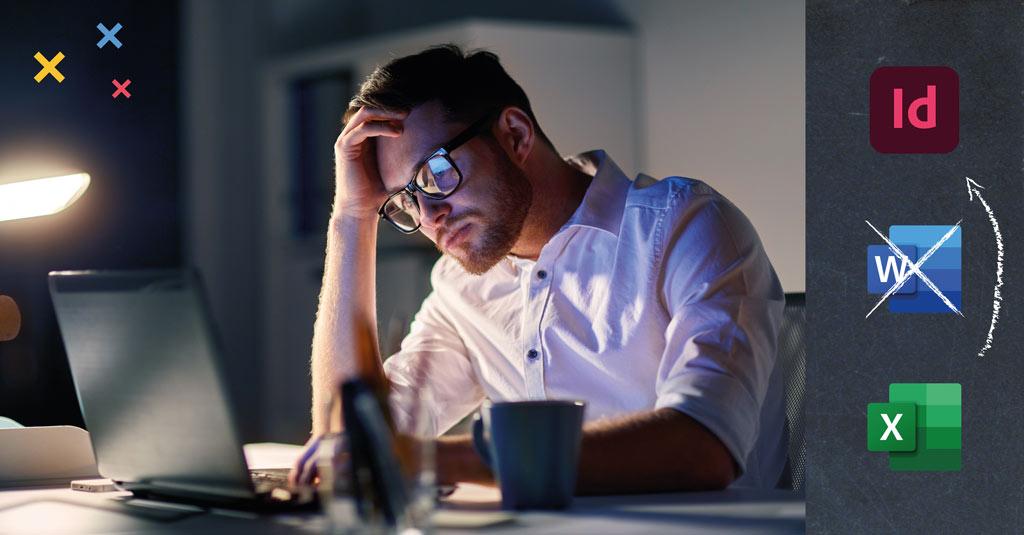Chargé de communication qui se pose la question « Pourquoi passer des heures sous Word à mettre en forme la saisie ? ».